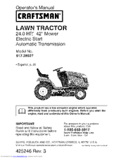 craftsman 28927 yt 4000 24 hp 42 yard tractor manuals rh manualslib com craftsman garden tractor manual craftsman lawn tractor manual 944
