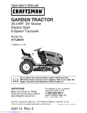 Craftsman 28945 Gt 5000 26 Hp 54 Garden Tractor Operation Manual Pdf