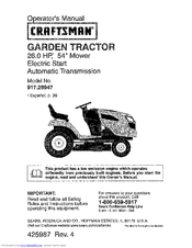 Craftsman 28947 Gt 5000 26 Hp 54 Garden Tractor Operator S Manual 72 Pages