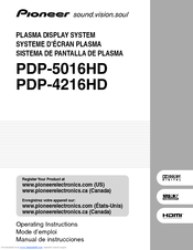Pioneer PDP-5016HD Operating Instructions Manual