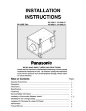 Panasonic Fv 40nlf1 Installation