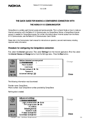 Nokia COMMUNICATOR 9110 Connection Manual