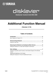Yamaha Disklavier E3 Function Manual