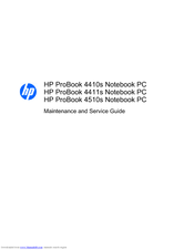 HP 4510s - ProBook - Celeron 1.8 GHz Maintenance And Service Manual