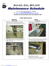 Brother BAS-423 Maintenance Schedule