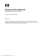 HP ProBook 5310m Maintenance And Service Manual