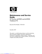 HP Pavilion dv9300 - Entertainment Notebook PC Maintenance And Service Manual