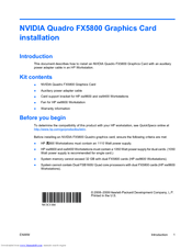 HP Z800 - Workstation - 6 GB RAM Installation Manual