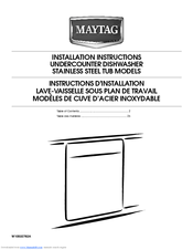 Maytag MDB8949SBB Installation Instructions Manual