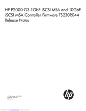 HP StorageWorks P2000 - G3 MSA Array Systems Release Note
