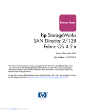 HP StorageWorks 2/128 - SAN Director Switch Release Note