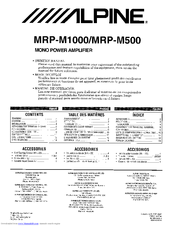 alpine mrp m500 manuals rh manualslib com Alpine MRP-M500 Remote Bass Alpine MRP-M500 Speaker Level Inputs