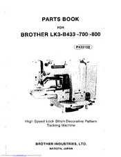 Brother LK3-B433 700-800 Parts Manual