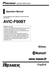 pioneer f90bt avic navigation system operation manual pdf download