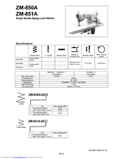 Brother ZM-851A Specifications