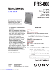 sony prs 600 electronic book reader service manual pdf download rh manualslib com Sony Reader PRS -300 sony prs 600 service manual