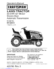 Craftsman 28910 Lt 2000 20 Hp 42 Quot Lawn Tractor Manuals