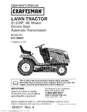 Craftsman 28924 Yt 3000 21 Hp 46 Yard Tractor Operation Manual Pdf Download Manualslib