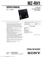 Sony Hi-MD WALKMAN MZ-RH1 Service Manual