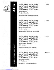 AEG WSP 5010 Operation And Installation Instructions Manual