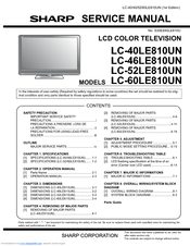 sharp aquos lc 52le810un manuals rh manualslib com Sharp Aquos TV Problems Sharp LED TV Manual