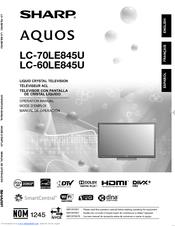 sharp aquos lc 70le845u manuals rh manualslib com Sharp AQUOS LC-52D64U Sharp LC-52D64U Back