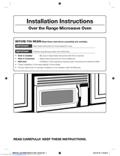 Samsung Smh1611b Xaa Installation Instructions Manual