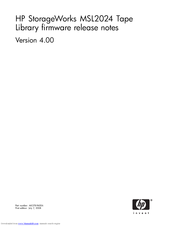 HP MSL4048 - StorageWorks Ultrium 920 Tape Library Firmware Release Notes