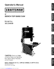 Craftsman 21419 - 9 in. Band Saw Operation Manual