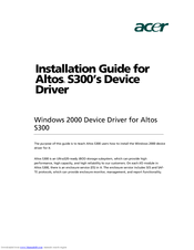 Acer Altos S300`s Device Driver Installation Manual
