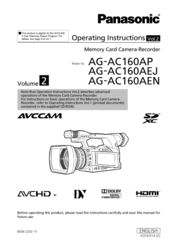 Panasonic AG-AC160A Operating Instructions Manual