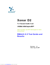 Asus Audio Card Xonar D2 Test Manual