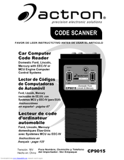 actron code scanner cp9015 instruction manual pdf download rh manualslib com Actron CP9125 Code List Booklet Actron Vehicle Codes